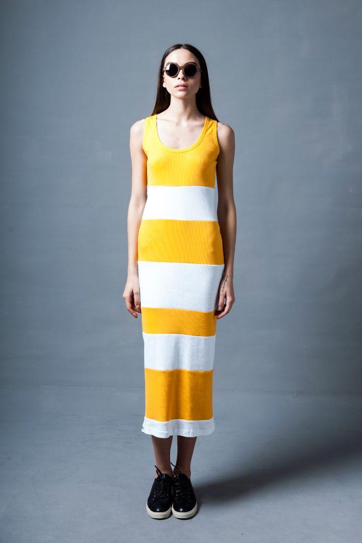ZYLO model OHTO in zebrawood and Orsalia Parthenis yellow and white stripes dress http://zyloeyewear.com/