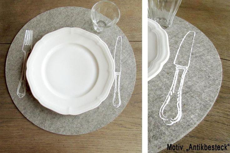 Filzauflage Tischset rund, 100% Wollfilz, hellgrau von raumunikat auf DaWanda.com