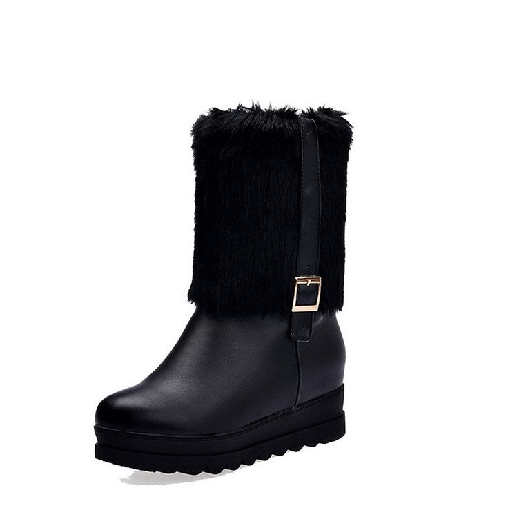Womens Closed Round Toe High Heels PU Cotton Solid Boots with Heighten Inside