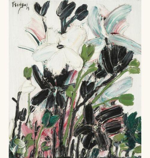 lilithsplace:'Fleurs blanches et noires', 1959 - Thanos Tsingos (1914–1965).('Black and white flowers')
