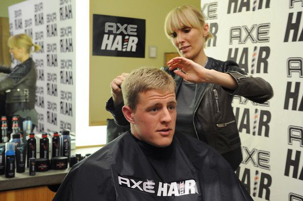 J.J. Watt Amy K Photos: J.J. Watt Gets A Spiked-Up Look Using A New Line Of AXE Hair Products