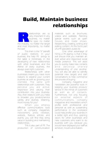 Relations with clients and businesses