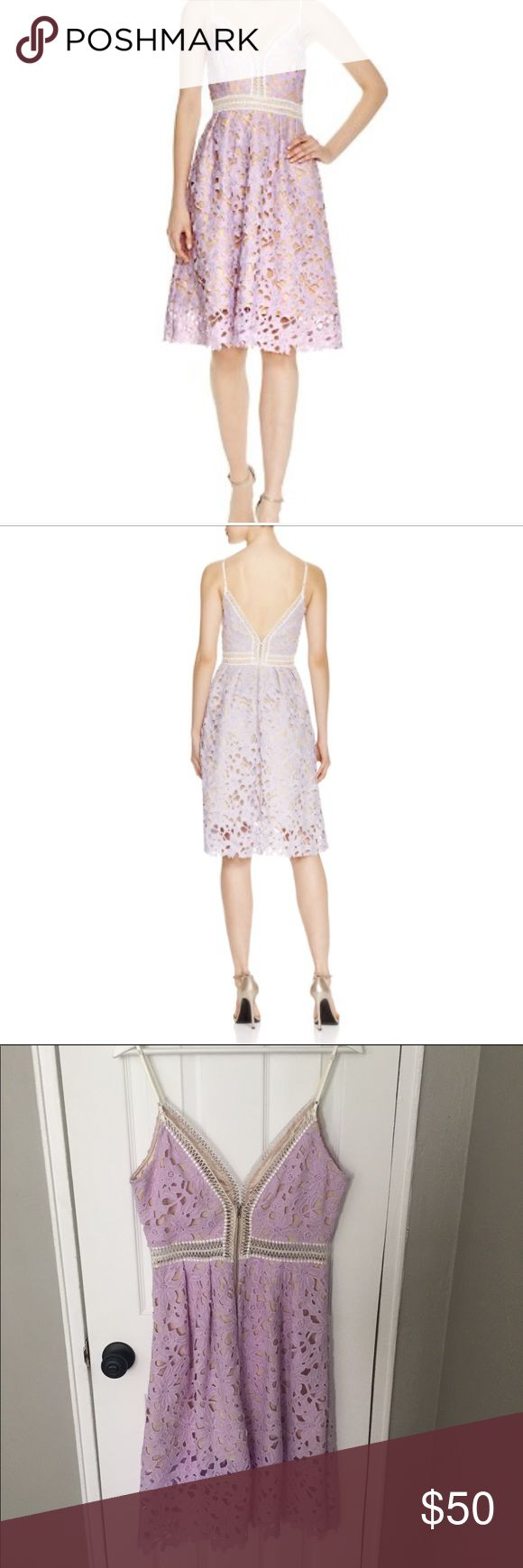 Bloomingdales Aqua Purple Lace Midi Dress Perfect cocktail or spring wedding dress. Gorgeous floral lace detail. Zipper closure in the back. Bloomingdale's Dresses Midi