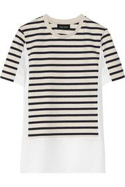 Sophie HulmePaneled striped jersey and crepe top