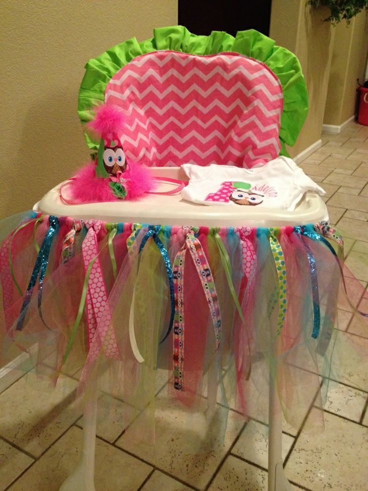 Hot Pink Chevron U0026 Lime Green High Chair Cover With Owl Themed High Chair  Tutu!