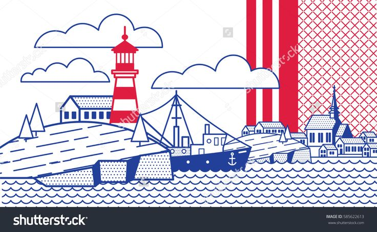 Illustration in the style of a lineart on the marine theme: the sea, the coastal town, boat, lighthouse, rock