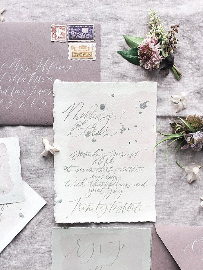 Gray and Lavender Wedding Invitations | Julie Cate Photography | http://heyweddinglady.com/pale-purple-ombre-wedding-ideas/