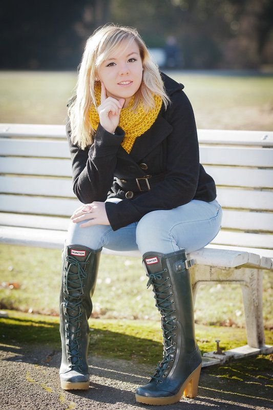 Hunter Lapins high-heel wellies in olive green, one of my all-time favorite rubber boots. Goes well with any jeans.