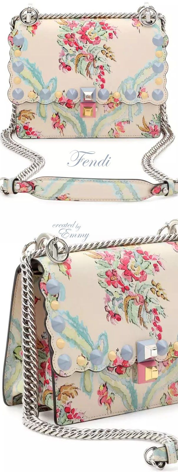 Brilliant Luxury♦Fendi Candy Colours Spring 2017♦Kan I Mini Aubusson-Print Chain Shoulder Bag