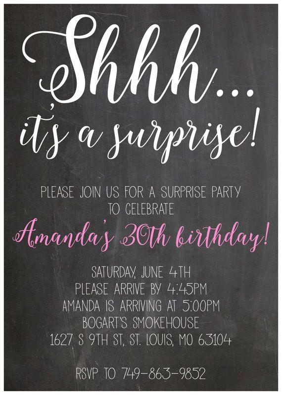 Shhh it's a suprise party birthday invitation 5x7 by SchmancyStuff