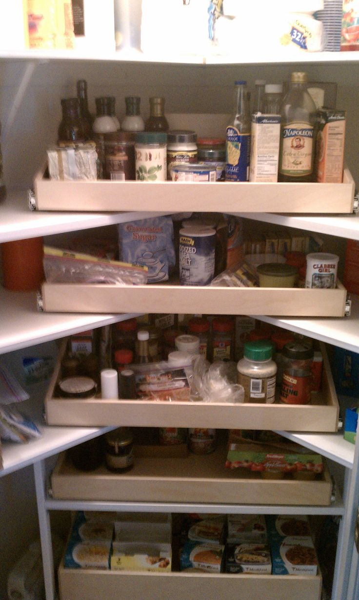 Turn the corner of your #pantry into the hardest working section with custom #PullOutShelves.  http://www.shelfgenie.com/