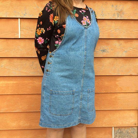 Short Jean Jumper size Large  Denim Overall Dress size 8-10