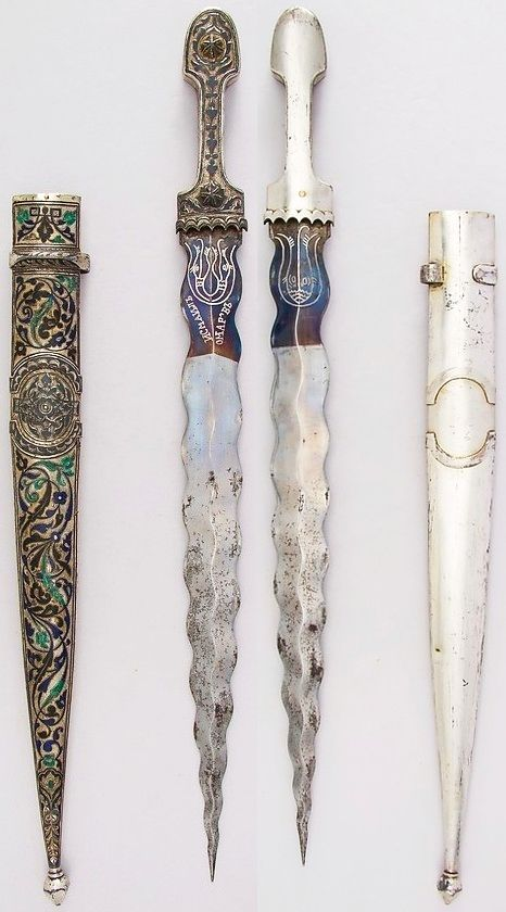 Caucasian kindjal, 19th century, steel, silver, enamel,  L. with sheath 21 5/8 in. (54.9 cm); L. without sheath 20 1/2 in. (52.1 cm); L. of blade 15 1/2 in. (39.4 cm); W. 1 9/16 in. (3.4 cm); Wt. 15.4 oz. (436.6 g); Wt. of sheath 12.5 oz. (354.4 g), Met Museum, Bequest of George C. Stone, 1935.