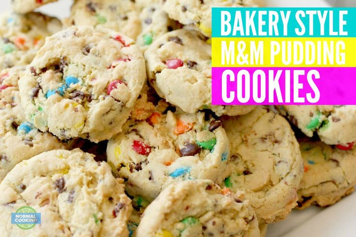 Bakery Style M&M Pudding Cookies | Recipe | Pudding cookies, Bakeries ...