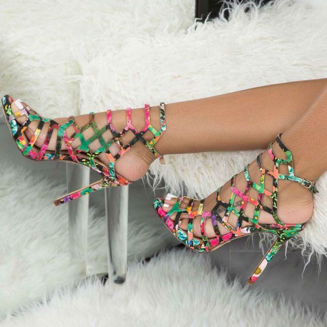 Liliana Open Toe Caged Stiletto Sandals