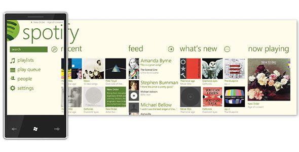 Spotify windows phone app.