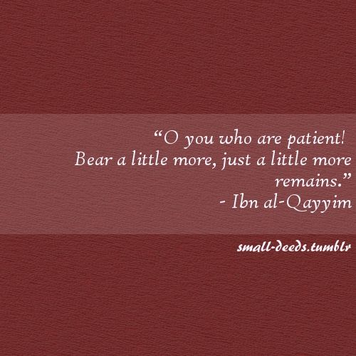 """O you who are patient! Bear a little more, just a little more remains.""- Ibn al-Qayyim"