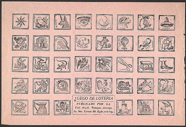 Juego de Lotería. Gameboard or gaming pieces for a lottery game, with thirty-eight blocks of illustrations. Each block is an contains a named object, in Spanish. No instructions appear on this gameboard. Image and information from the Library of Congress.