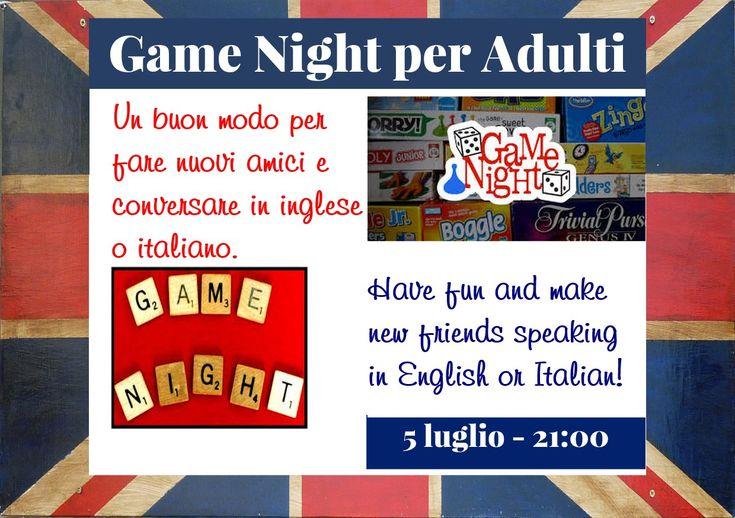 Game Night - Giochi di società  Quanto spesso oggi si passa un po' di tempo come negli anni passati con dei giochi di società che aiutano a far lavorare il cervello e vi fanno divertire allo stessotempo? Un'occasione per trascorrere del tempo prezioso con amici nuovi e vecchi, o con la famiglia.    Questo evento comincia alle 21:00.