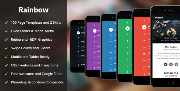 Rainbow | Mobile & Tablet Responsive Template