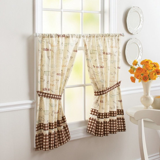 The Café Curtains adds a touch of cafe charm to your home. This fun, conversational print is all about capturing the senses of rich aroma and everything cafe.