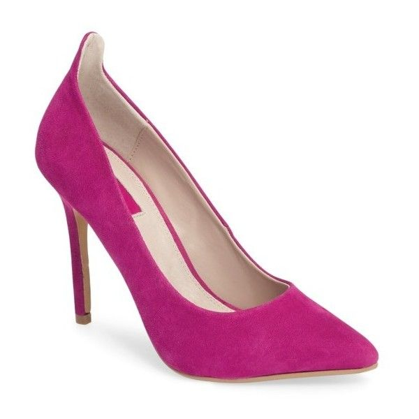 Women's Topshop Gardenia Curve Pump ($80) ❤ liked on Polyvore featuring shoes, pumps, bright pink, neon pointy toe pumps, pointed toe pumps, suede shoes, pointy toe shoes and neon pumps