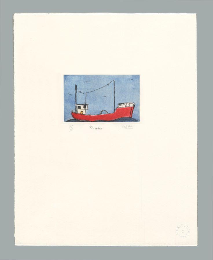 'Trawler' by Michael Patten, 2016 Intaglio print on Zerkall 250 gsm paper.  Sheet size 33 x 42.5cm
