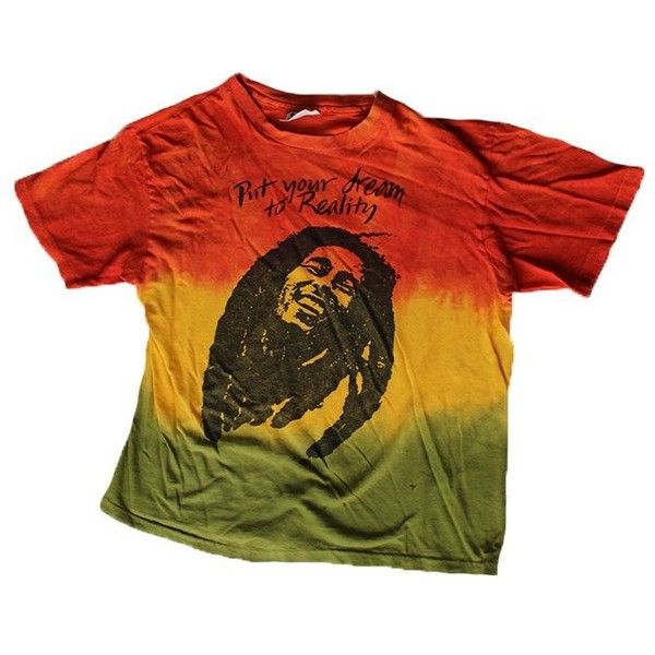 Vintage 80's Bob Marley Tie Dye T-shirt ($125) ❤ liked on Polyvore featuring tops, t-shirts, cotton t shirts, bob marley t shirts, red t shirt, tie dyed t shirts and tie dye t shirts
