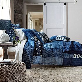Indigo Quilt - Rendered in rich shades of indigo and cream, traditional Indonesian batik prints were the muse for our quilt and sham.