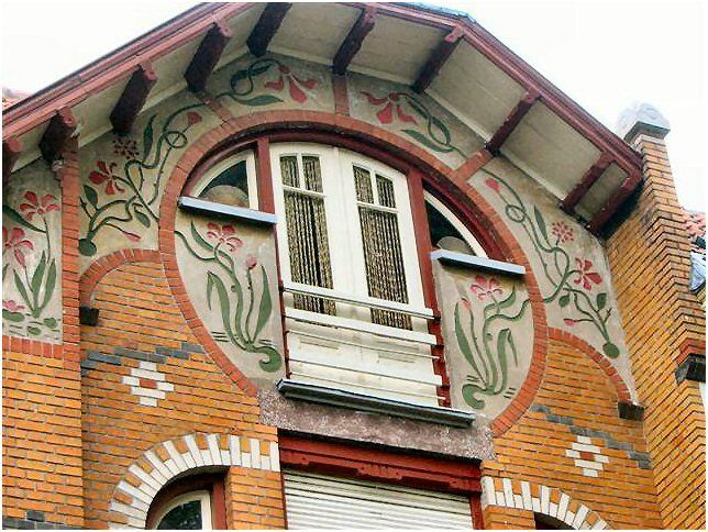 A brick building with great designs in the city of Zutphen, The Netherlands