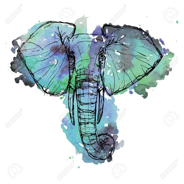 Дикое животное сафари. Черный и белый слон мило лицо обращается перо и чернила на фоне акварель для брошюры, футболки, логотип, приглашения, открытки, иконы, открытки, шаблон Векторные иллюстрации eps10