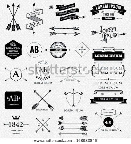 Design Elements Retro Style Arrows Labels Ribbons Symbols Such As Logos