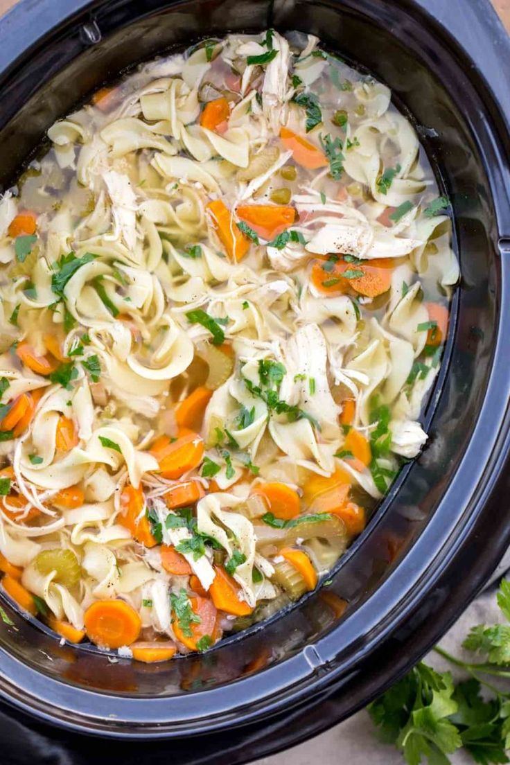 easy chicken noodle soup recipe made in a slow cooker the