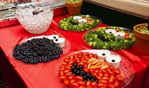 Platter of Veggies and Berries in Elmo, Grover and Cookie Monster Face