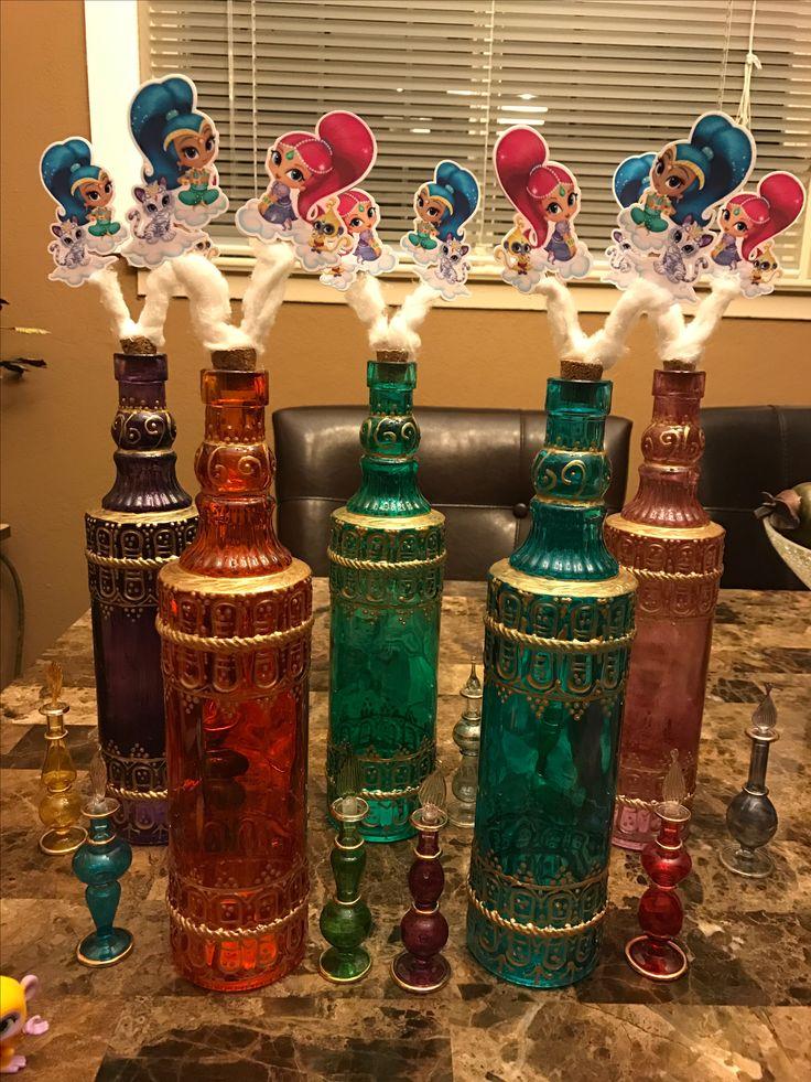 Genie bottle shimmer and shine centerpieces idea shimmer for Bottle decoration ideas kids