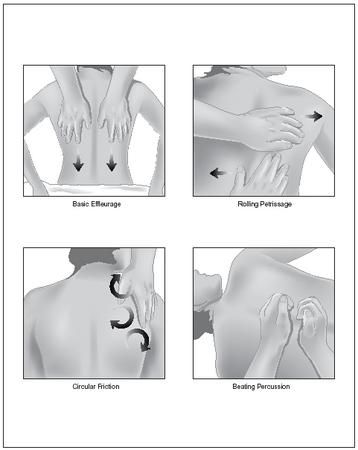 Four basic massage techniques. In basic effleurage, keep firm contact with the skin as you stroke down your partner's back. In rolling petrissage, push the heel of one hand across your partner's back, while you pull and lift the skin with the fingers of the other. In circular friction, rotate your thumb in small circles on the ropelike tissues of your partner's back. In beating percussion, use a loose fist to gently beat the fleshy areas of the body. (Illustration by Electronic Illustrators…