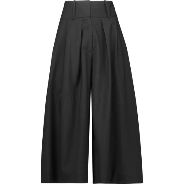 J.W.Anderson - Pleated Crepe Culottes (£180) ❤ liked on Polyvore featuring pants, capris, black, pleated pants, crepe trousers, pleated trousers, pleated front pants and crepe pants