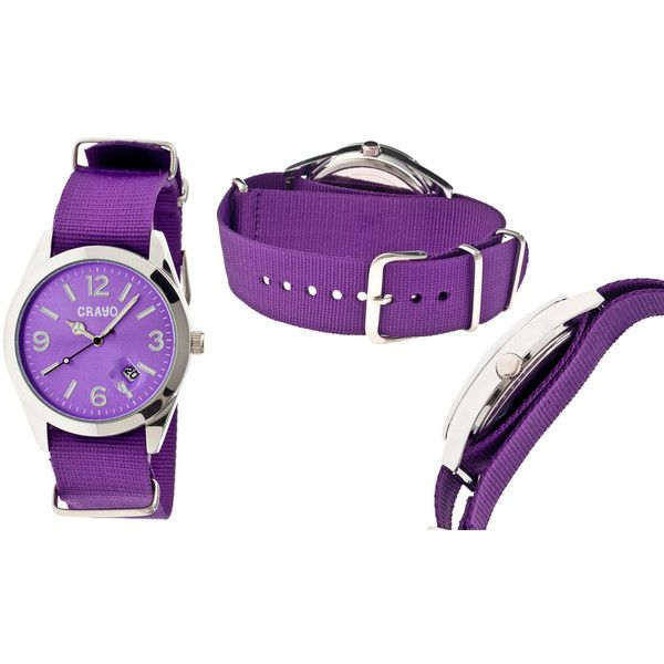 Women's Crayo WatchSunrise CRACR1707/Purple Band ($25) ❤ liked on Polyvore featuring jewelry, watches, jewelry & watches, purple, women's watches, purple watches, formal watches, purple jewelry, formal jewelry and crayo