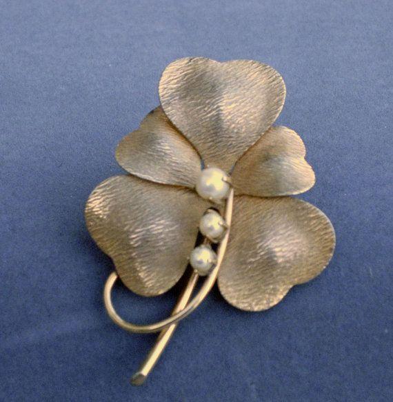 Gold Filled 5 Leaf Clover Brooch by CarlArt by MrsFinder on Etsy, $29.00