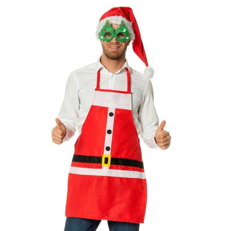 Kerstkleding schort kerstman. Kerstman verkleed schort in de kleur rood. Geschikt voor volwassenen. One size. Materiaal: 100% polyester. De lengte van het schort is 68,5 cm (zonder de touwtjes gemeten). De breedte van het schort is ongeveer 48 cm.