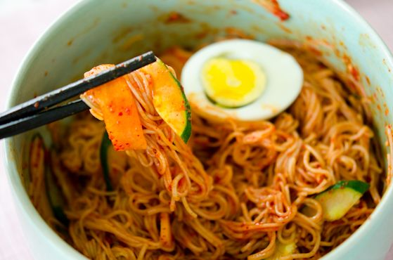 Naengmyeon, Korean style spicy cold soba noodles (omit egg and sub agave for honey)