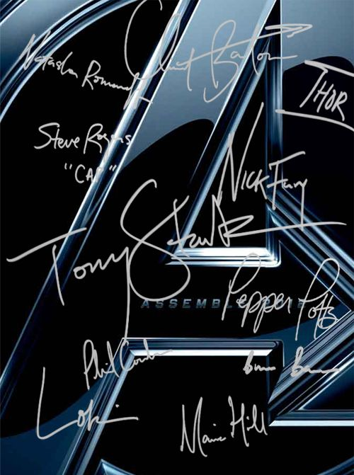 Actors' signatures/characters' names...love it! Especially how Tony's is the biggest and in the middle.