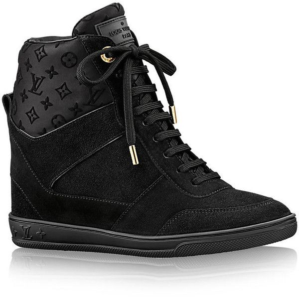 LOUIS VUITTON SNEAKER COMPENSÉ MILLENIUM (€680) ❤ liked on Polyvore featuring shoes, sneakers, monogrammed shoes, louis vuitton trainers, louis vuitton, velour shoes and monogrammed sneakers