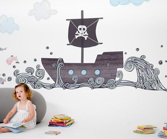 Pirate Boat Reusable Fabric Wall Decals by Pop & by popandlolli