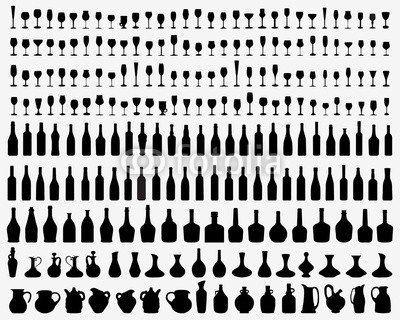 Black and of silhouette glasses bottles wine of vector (72471214): impression brillante sur matériau en toile solide la toile est fournie…