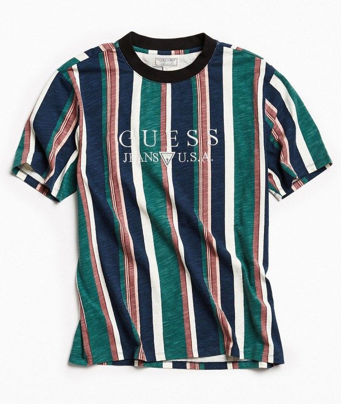 Online Thrift Store Shopping Mall Striped Shirt Men Guess Clothing Vertical Striped Shirt