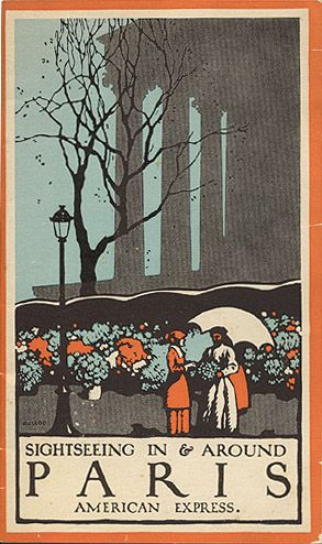 """Travel brochure """"Sightseeing in & Around Paris,""""  1929.  Published by American Express.  Signed McLeod."""