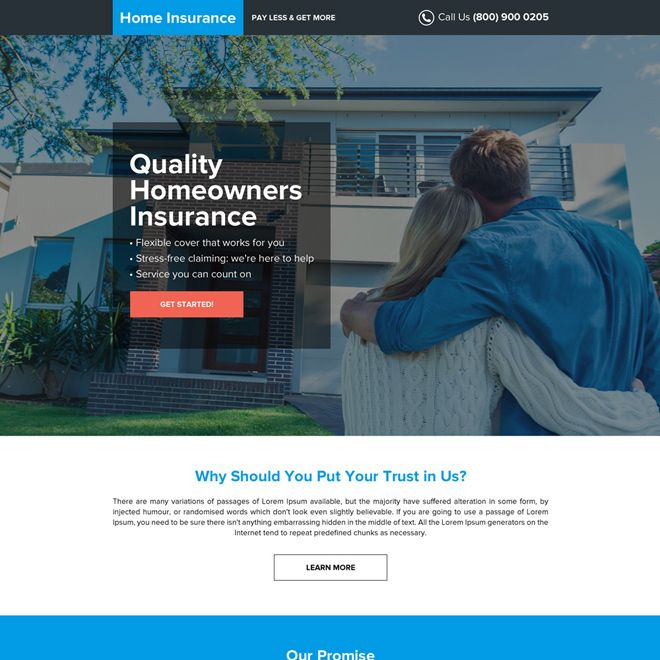 Download Mobile Responsive Home Owners Insurance Modern Landing