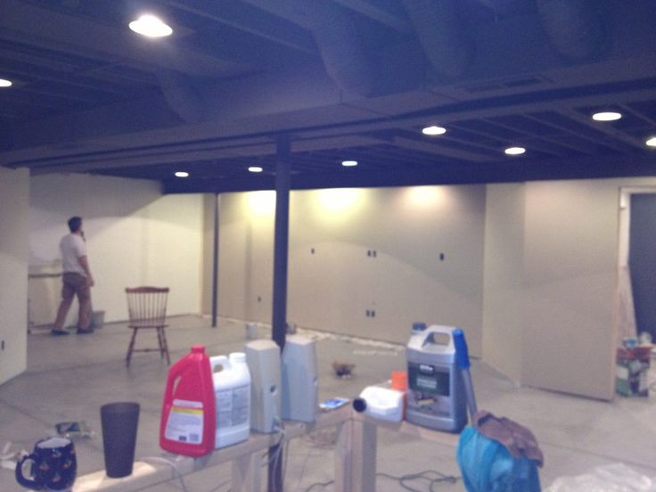 Finished basement.  Love the idea of painting the ceiling/ductwork to save costs.