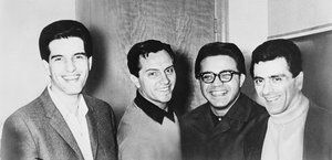 Left to right: Bob Gaudio, Tommy DeVito, Charlie Calello and Frankie Valli of The Four Seasons pose for a photo in 1966.